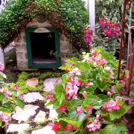 собачья будка с зеленой крышей